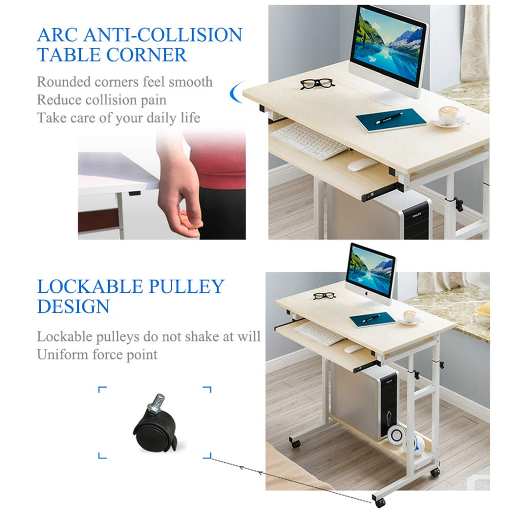 LIULIFE Modern Space Saver Computer Desk Adjustable PC Table Wheels Home Office Furniture, with Sliding Keyboard Board and Host Location,Black by LIULIFE (Image #4)