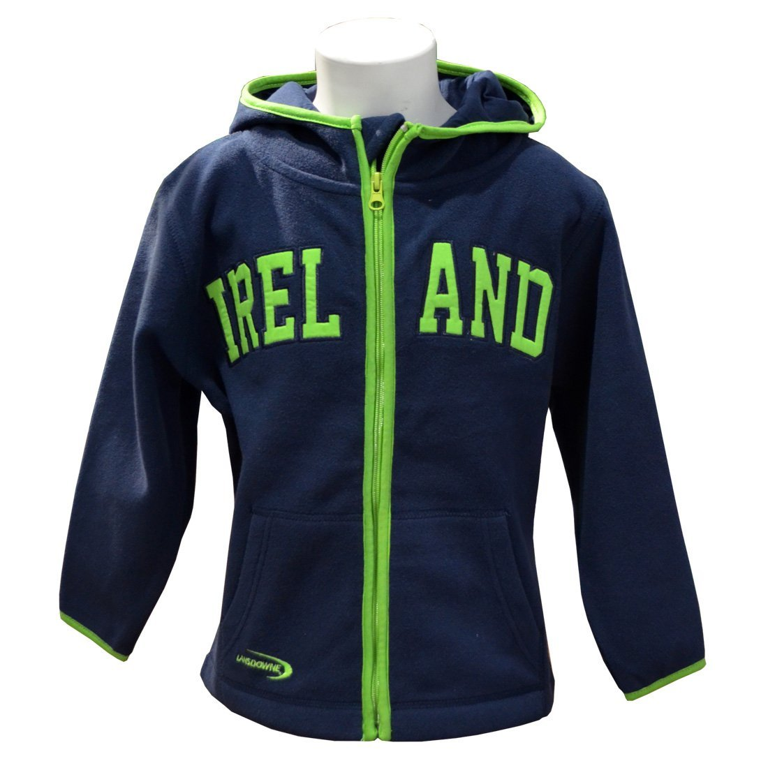 Navy Full Zip Hoodie With Green Trim Design And Ireland Text