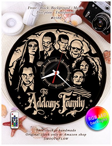 The Addams Family wooden clock/Morticia and Gomez Addams clock W0388 /Modern clock/Halloween clock/Unique clock/Plywood clock (Black-Maple-Backlight) -