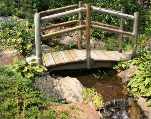 3' White Cedar Unstained Double Rail - Rail Double Garden Bridge
