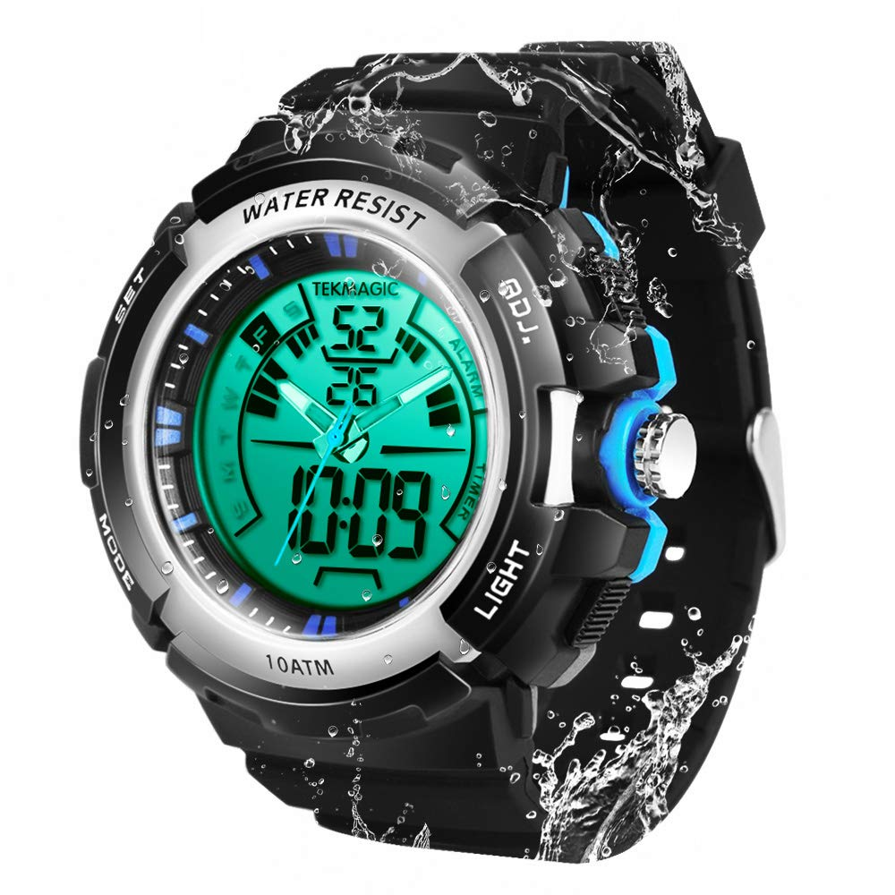 TEKMAGIC 10ATM Waterproof Digital Scuba Diving Watch 100m Underwater for Swimming and Running with Stopwatch and Luminous LCD Display Built-in by TEKMAGIC