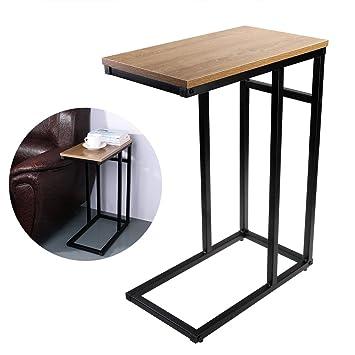 OULII Sofa-Beistelltisch in Holzoptik aus Stahl, C-Tisch: Amazon.de ...