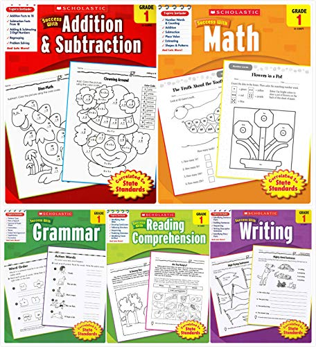 Scholastic Success With - Grade 1 Complete Set (5 Books): Addition&Subtraction 1, Math 1, Grammar 1, Reading Comprehension 1 and Writing 1
