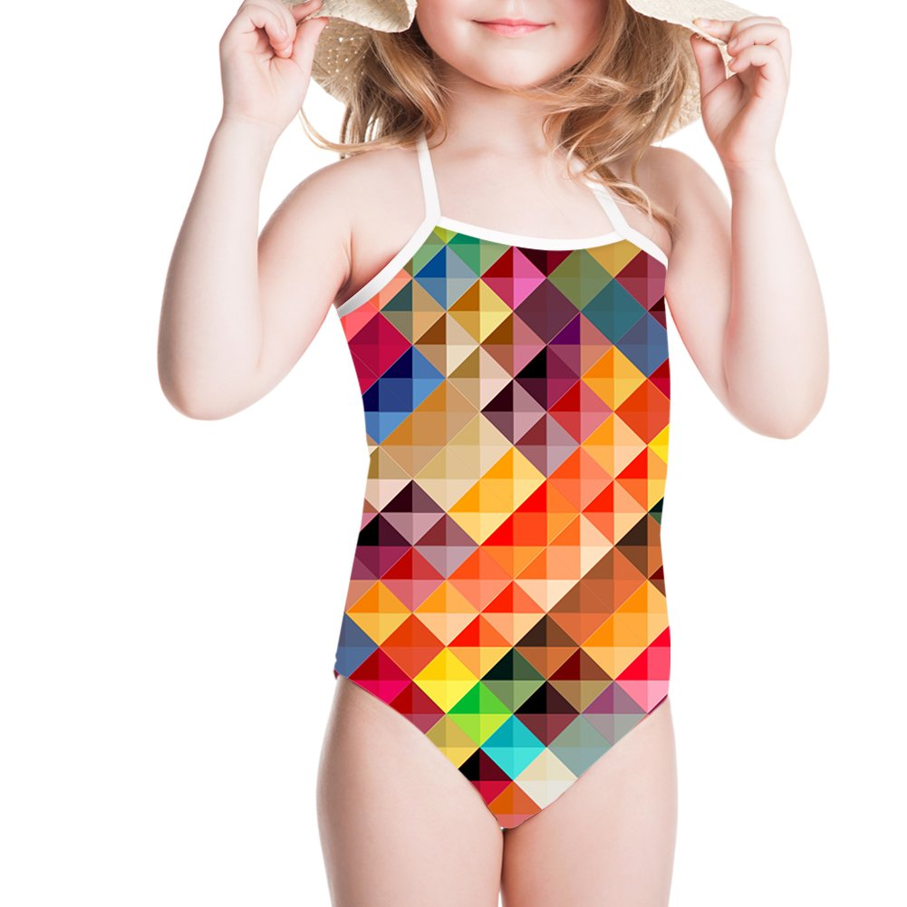 Sannovo Summer Girl Toddler Clothes Swimming Suit Abstract Surfing 5T-6T
