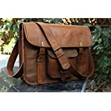 HLC Leather Unisex Real Leather Messenger Bag for Laptop Briefcase Satchel …