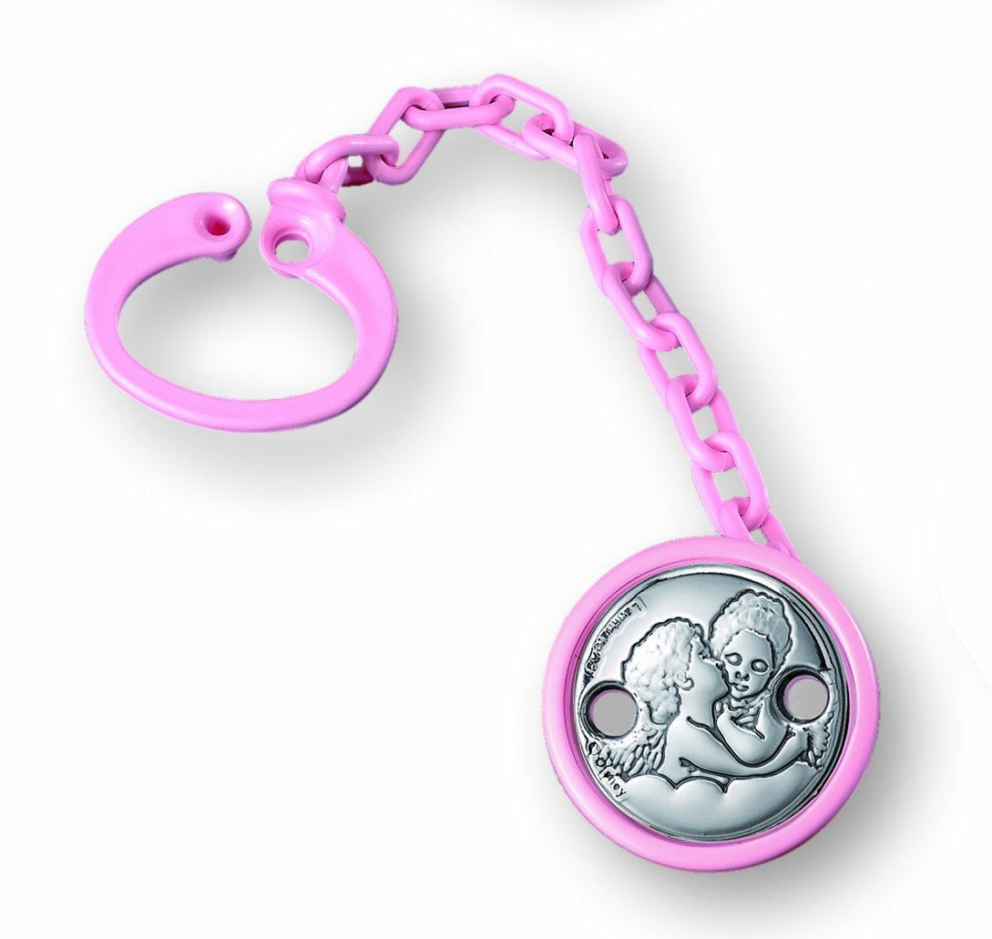 STERLING SILVER BABY GIFT SET: Pacifier Holder Clip Leash - ANGELS. SET OF 6 (PINK) by Sterling Touch