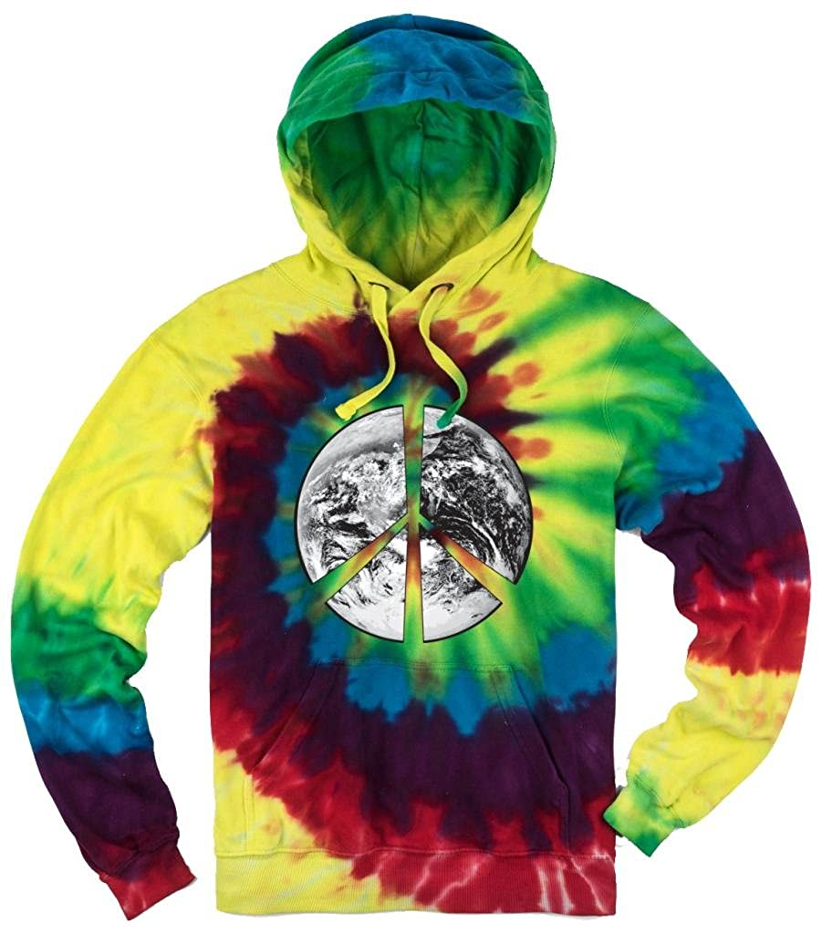 Yoga Clothing For You Mens Tie Dye Peace Earth Hoodie AG-MICHAEL-PE