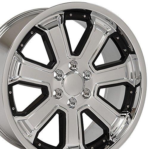 (OE Wheels 22 Inch Fits Chevy Silverado Tahoe GMC Sierra Yukon Cadillac Escalade CV93 Chrome w/Gloss Black 22x9.5 Deep Dish Rim Hollander)