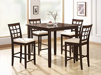 Amazon Com 5 Piece Dining Set In Rich Cappuccino Coaster Table
