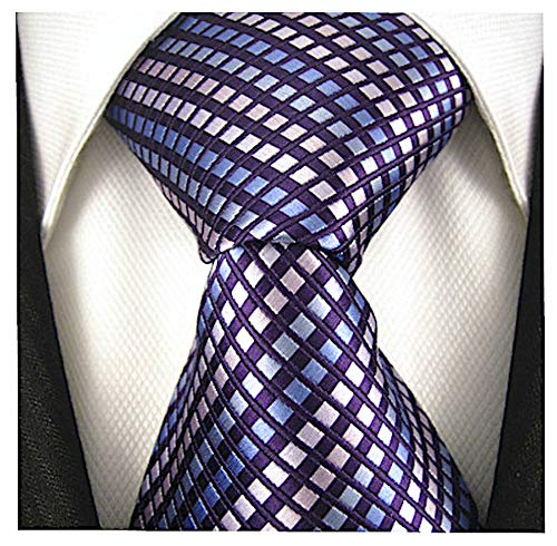 Diamond Striped Ties for Men - Woven Necktie - -