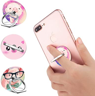 Cute Pig Phone Finger Ring Stand,Multi-Function 360/°,Rotating Ring Bracket Compatible iPhone 5 6 7 8 X Plus Samsung Galaxy Ipad