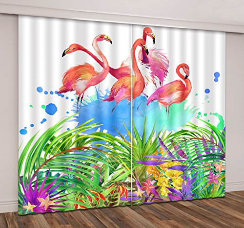 84' Dining Sets Pattern (Flamingo Decor Window Curtains By LB,Green Jungle Palm Leaves Pink Flamingos Pattern 3D Window Treatment Curtains Living Room Bedroom Window Drapes 2 Panels Set,104W x 84L Inches)