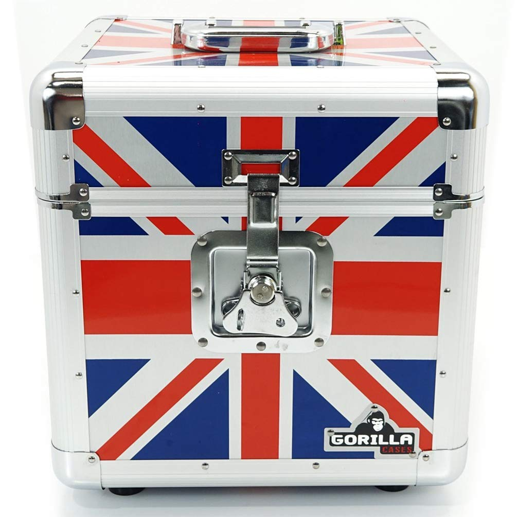 """""""Gorilla 12"""""""" LP Vinyl Record Storage Box Flight Carry Case Holds 100pcs Union Jack - Includes Lifetime Warranty"""", GC-LP100U"""