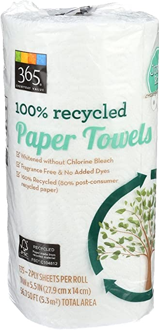 365 Everyday Value, 100% Recycled Paper Towels, Choose Your Size (Jumbo  Roll), 1 ct