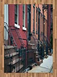 Urban Area Rug by Lunarable, Stairways Leading To Doors of Row of Old Apartments Architectural New York City View, Flat Woven Accent Rug for Living Room Bedroom Dining Room, 5.2 x 7.5 FT, Multicolor