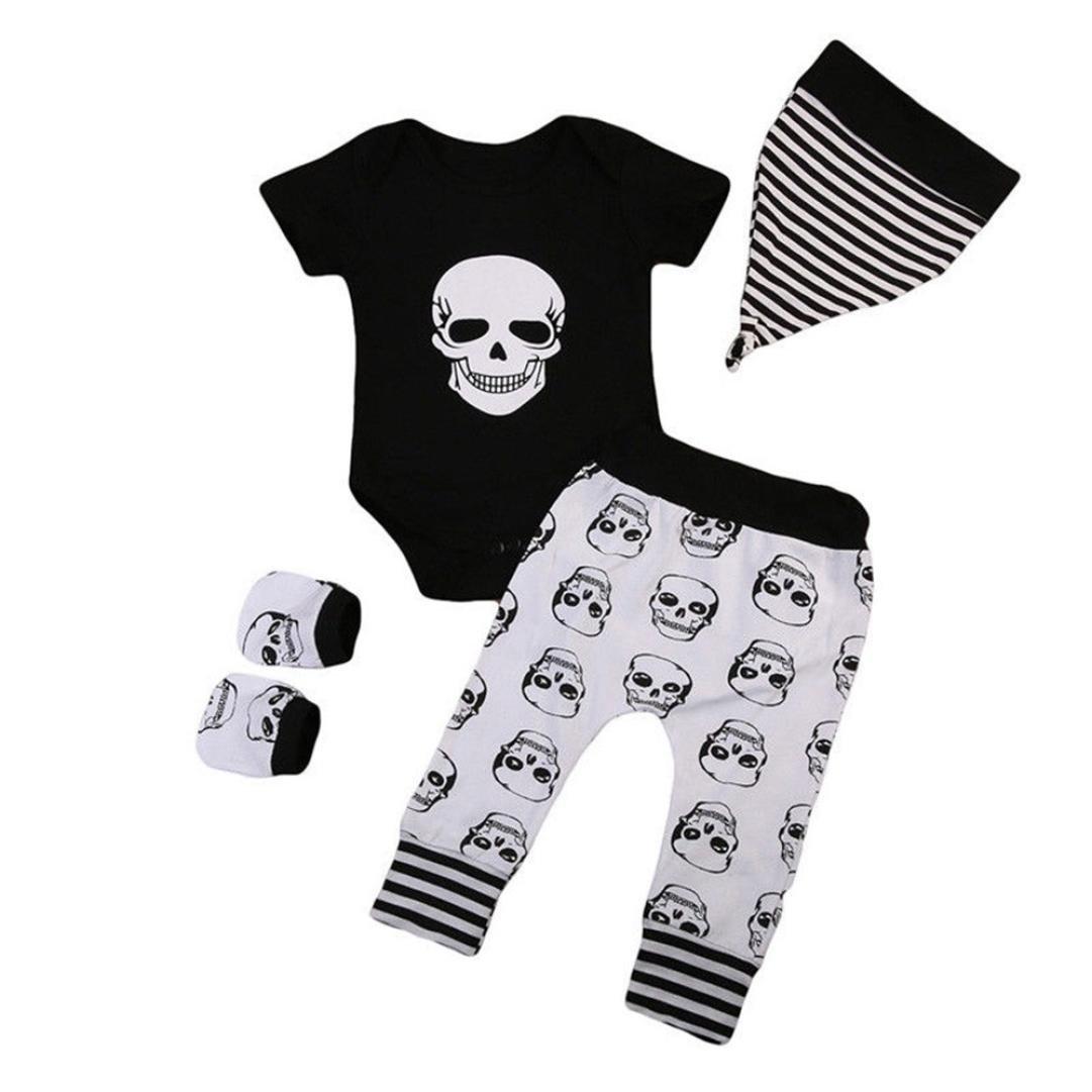 Halloween Neugeborenes Kleinkind Infant Baby Mä dchen Jungen 4pcs Infant Baby Knochen Print Strampler + Hosen + Hut +Handschuhe Set Kleidung Herbst Winter Neue Regale