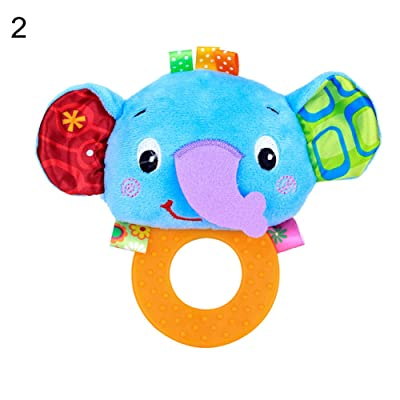 khkadiwb ToysRattle Plush Dog Animal Baby Hand Graping BB Rattle Teether Educational Teething Toy - ElephantEco-Friendly Non-Toxic Safe to Use Lovely: Toys & Games