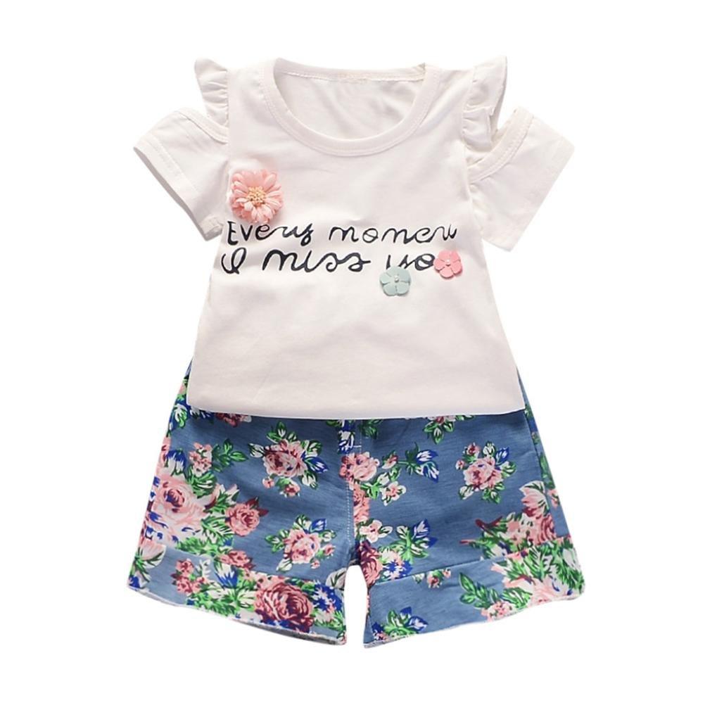 Efaster Baby Girls Short Sleeve Letter Flower Embroidered Tops+Floral Shorts Set