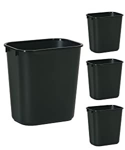 Rubbermaid Commercial Products Small 3.5 Gallon/14 Quart Plastic Trash Can Waste Basket for Bedroom, Bathroom, Office Black 4 Pack (2136355)