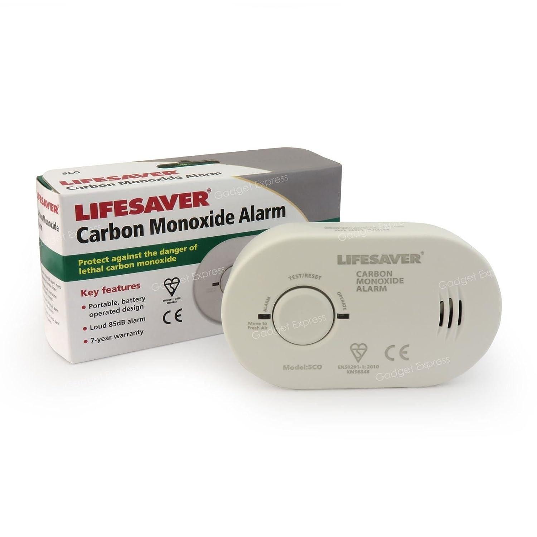 Kidde 5 colsb Alarma de monóxido de carbono Detector Sensor funciona con batería de larga duración electrochemical con prueba y Reset BSI y certificado por ...