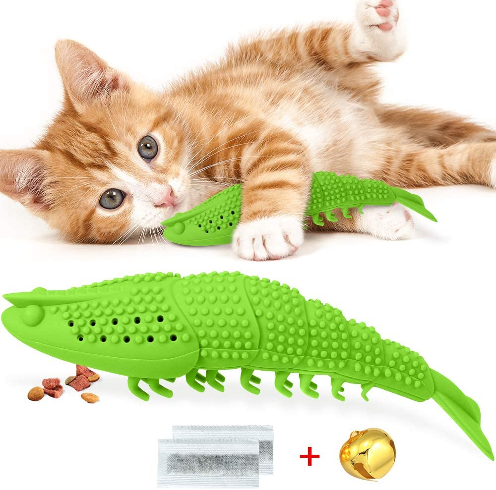 Cat Toothbrush Toy Catnip Toy Interactive Cat Toy Chew Toy Bite Resistant Cat Teeth Cleaning Toys Fish Shape Cat Toy with Bell for Kitten Kitty