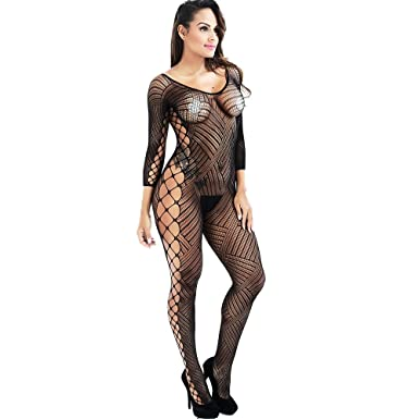 c01b783120 Image Unavailable. Image not available for. Color  Tago xo Women s Full Body  Open Crotch Fishnet Bodystocking ...