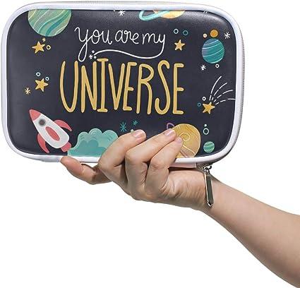 Estuche para lápices con diseño de planetas y letras de Universe con portalápices, de piel, con cremallera, para adolescentes y niñas, estudiantes, bolsa de papelería de gran capacidad, multifunción.: Amazon.es: Oficina y
