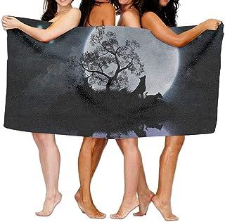 ruishandianqi Serviettes Plage Draps de Bain 31x51 inch High Absorbency Bath Towel Moon Wolf Lightweight Large Bath Sheet for Beach Home Spa Pool Gym Travel