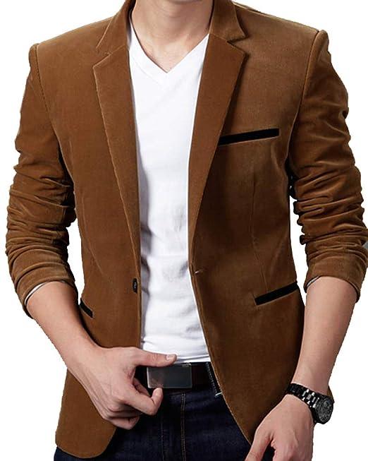 Hombre Manga Larga Abrigo Color Sólido Botón Solapa Slim Fit Chaquetas Blazer: Amazon.es: Ropa y accesorios