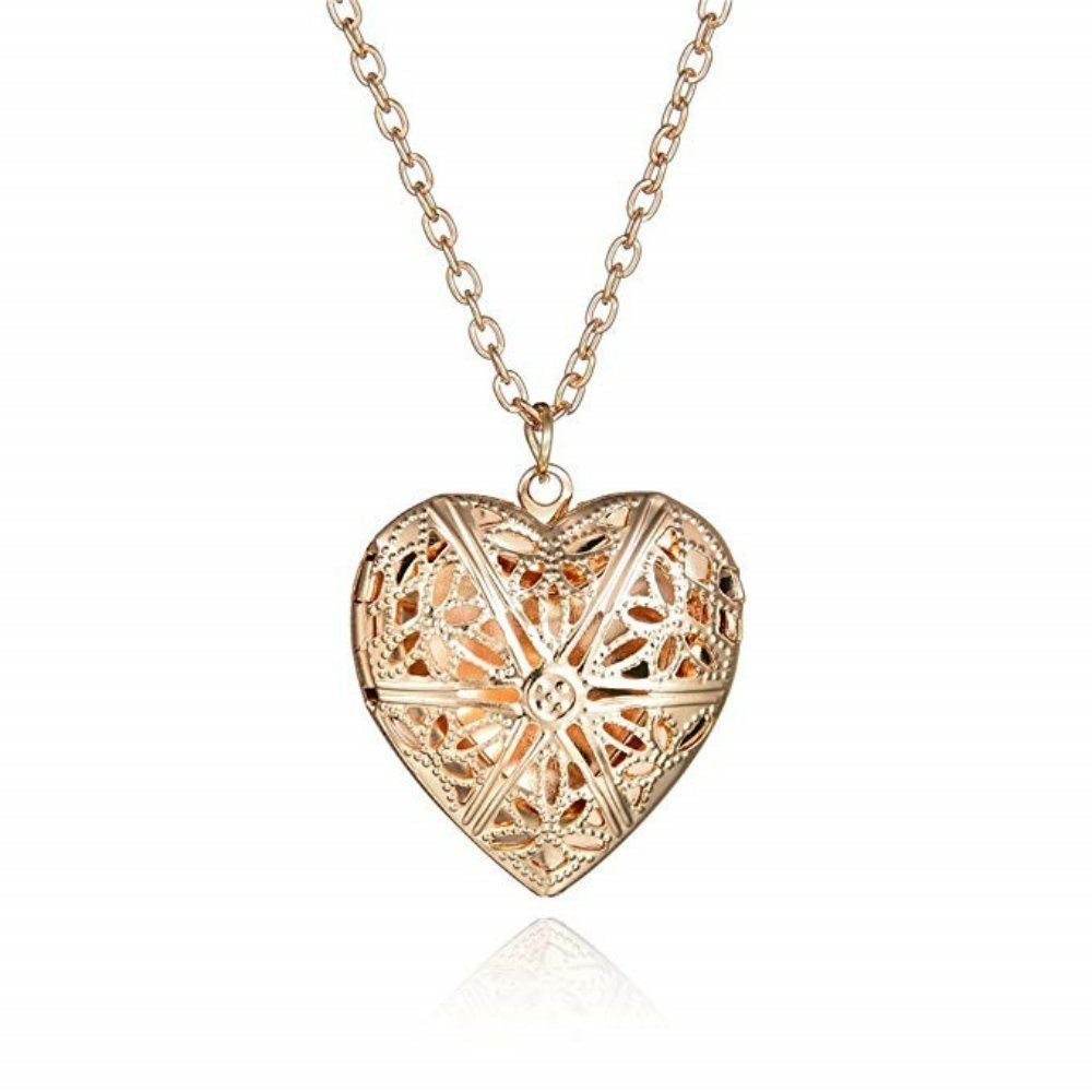NDG Love Heart Locket Necklace Engraved Flowers Heart Locket Necklace Holds Pictures Pendant Necklace