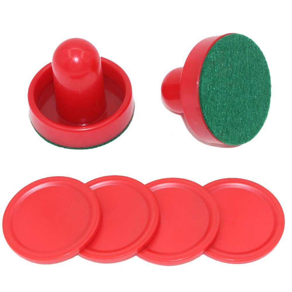 coolvision Home Standard Round Air Hockey Paddles, Air Hockey Accessories, Air Hockey Spare Parts for Game Tables, 2 Pushers, 4 Pucks (60mm)