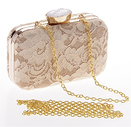 Vintage Lace Chain Bridal Prom for Hardbox Black Bag Women Clutch Floral Evening Wallet HH6x4TrF1