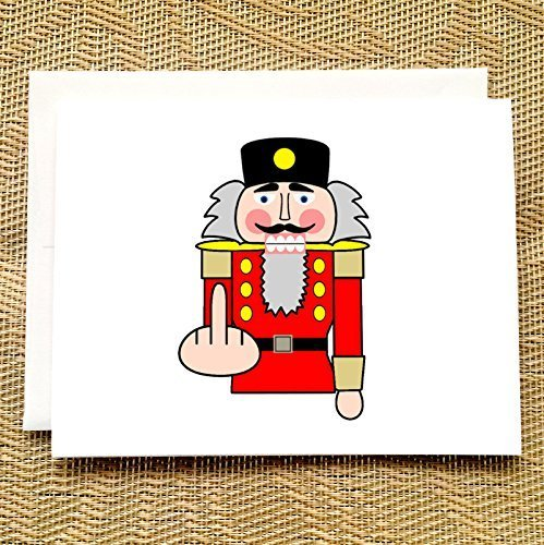 funny christmas card nutcracker middle finger rude christmas cards f you funny holiday cards funny - Amazon Christmas Cards