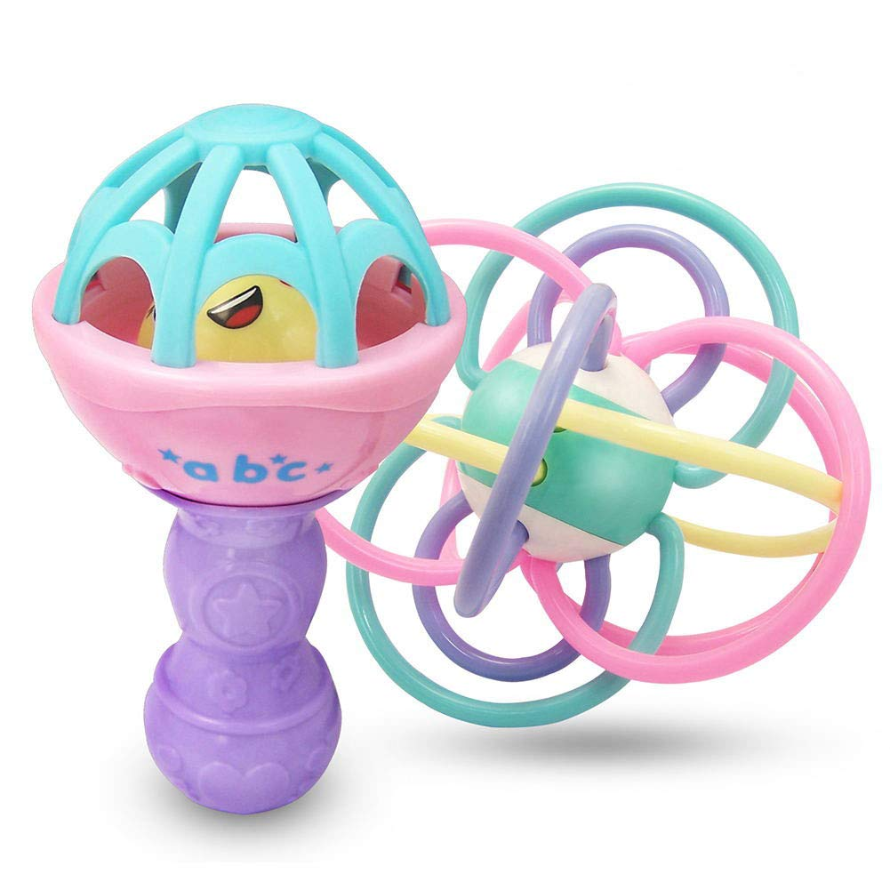af-tigonhw Teether, Rattle, Baby Teether, Baby Rattle, Infant Toys for 3,6,9,12 Months Baby Rattles BPA Free, Rattle Toy for Newborn, Baby Maracas Early Educational Toys, Teethers Gift Girl Boy HUOWA