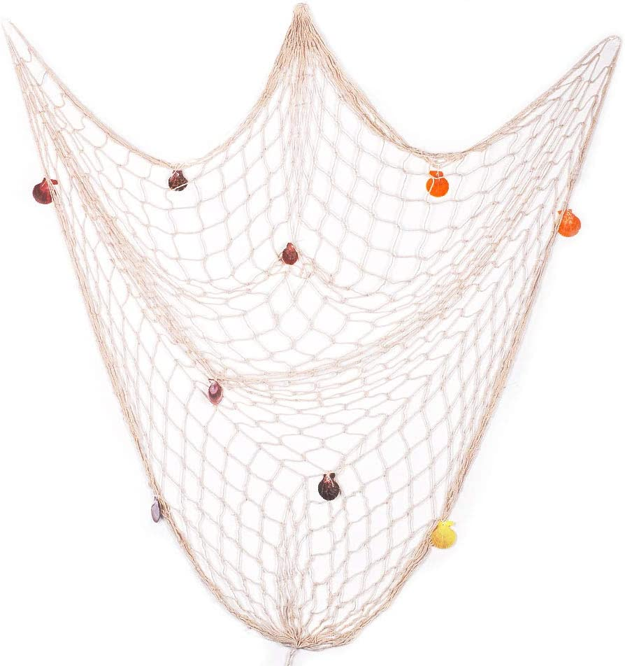 eZAKKA Decorative Fish Net, 79 x 59inch Mediterranean Style Nautical Decorative Fishing Net Wall Hangings Decoration with Sea Shells, Beige