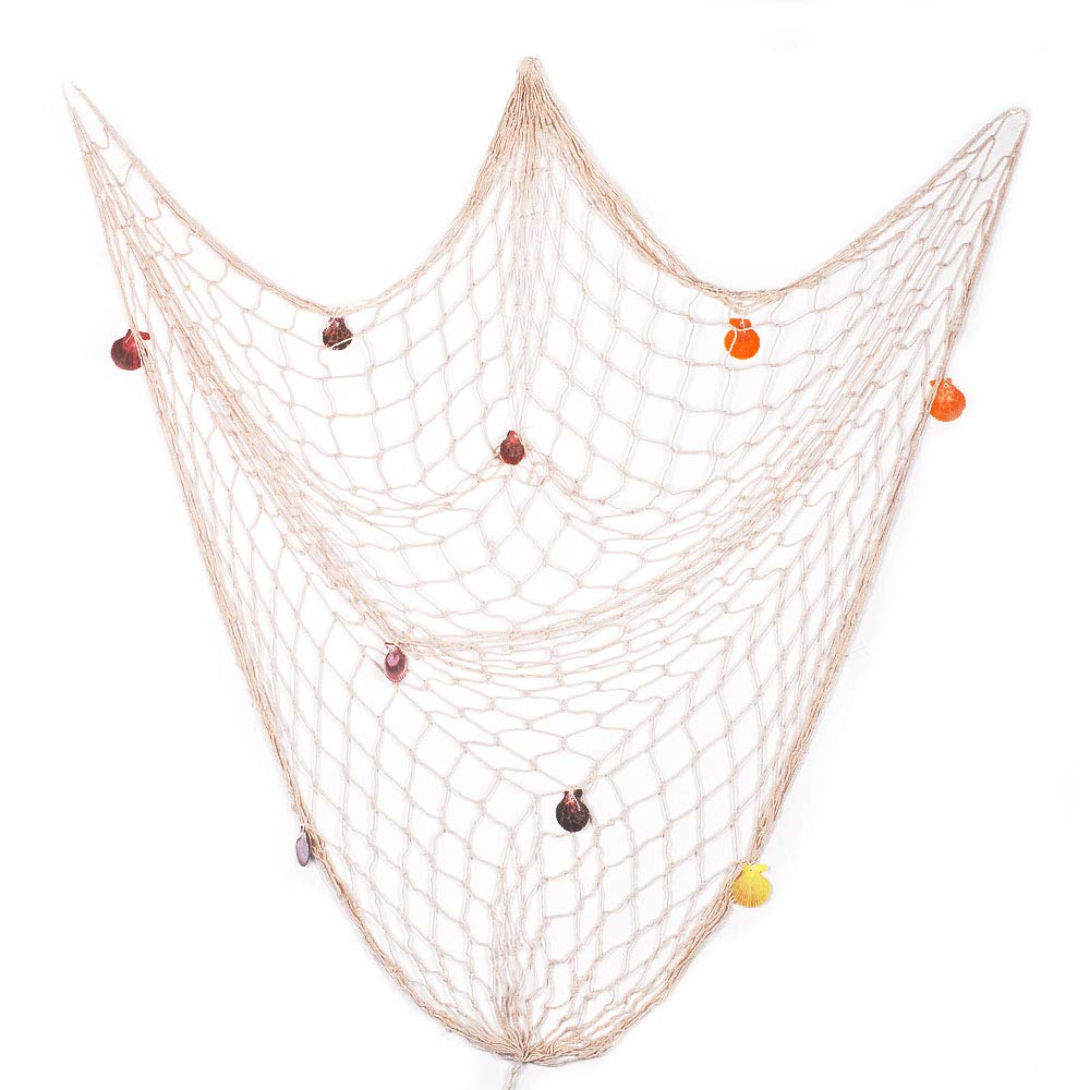 eZAKKA decorative Fish Netting, Fishing net Decor, pirata Ocean Beach tema nautico decorazioni per feste, 200,7 x 149,9 cm stile mediterraneo Decor Nautical decorative Fish net con conchiglie, beige