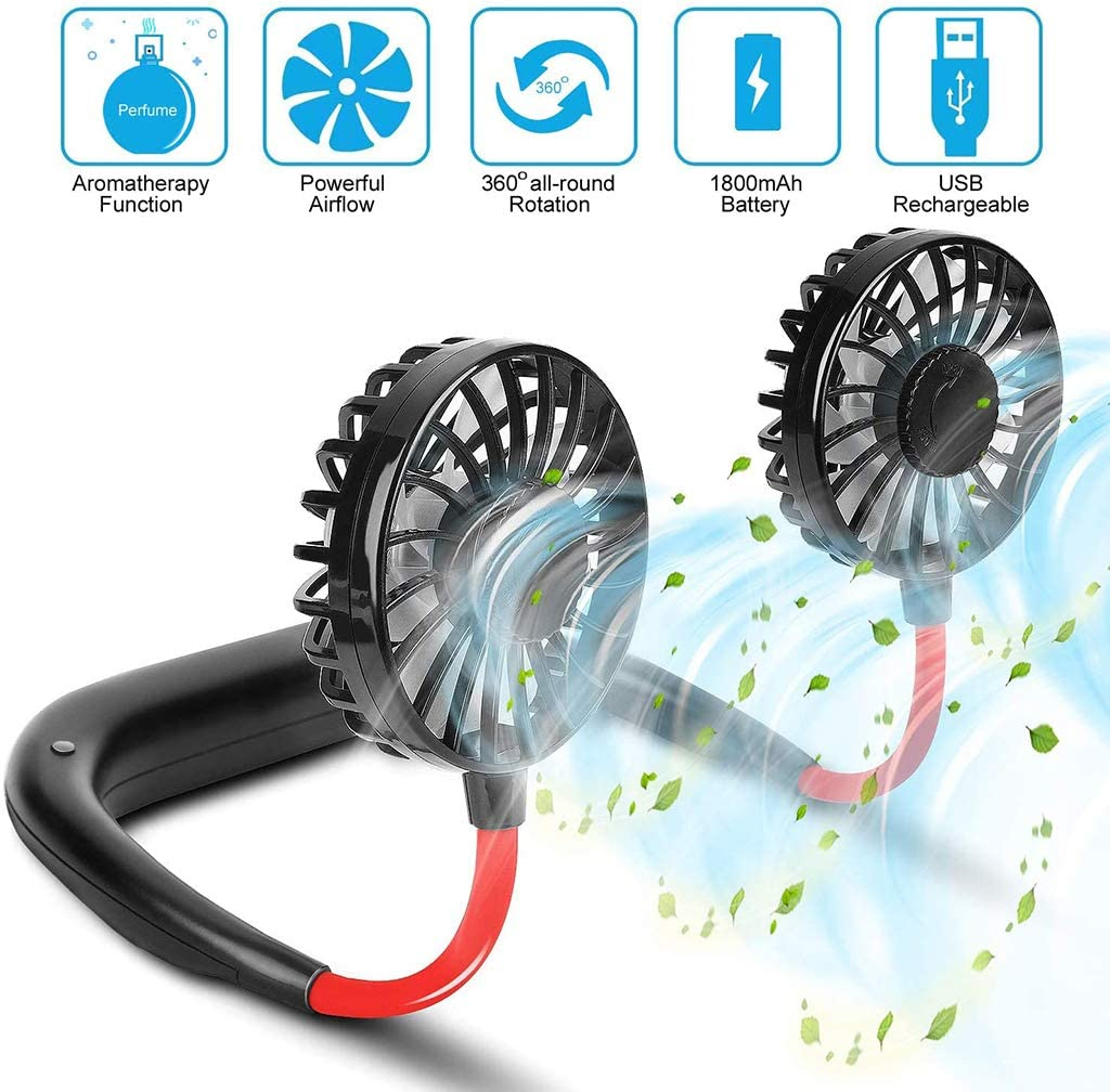WZYJ Ventilador portátil con Cuello Colgante de Doble Cabeza, Mini Ventilador Personal USB de rotación de 360 °, 3 velocidades Ajustables, para Exteriores, oficinas, Viajes