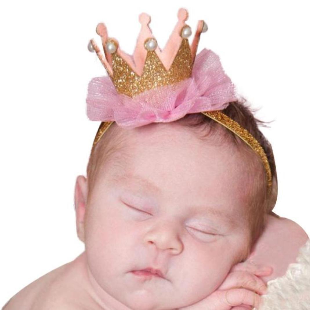 Interent Jeune Fille tête Accessoires Bébé Bandeau élastique Fleur Couronne Couvre-chefs (Hot Pink) Interent_8810