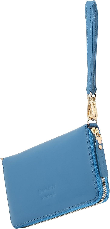 StilGut Smart Wallet in pelle - elegante clutch, portafoglio, custodia per smartphone e borsa a tracolla gr Blu Acqua Napppa