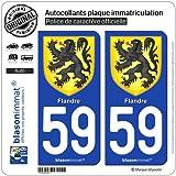 2 Stickers de plaque d'immatriculation auto 59 Flandre - Armoiries