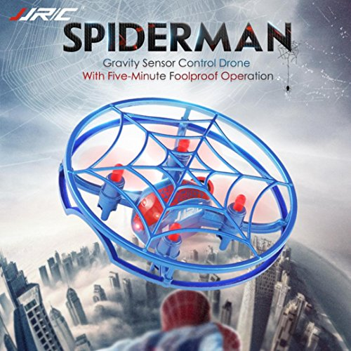 - Iusun Drone Quadcopter, JJRC H64 Spiderman Gravity Sensor Control Drone Full Cover 3D Rolling Quiver Smart Drone Quadcopter Toy for Adults KIds Christmas Birthday Gift Toys (Blue)