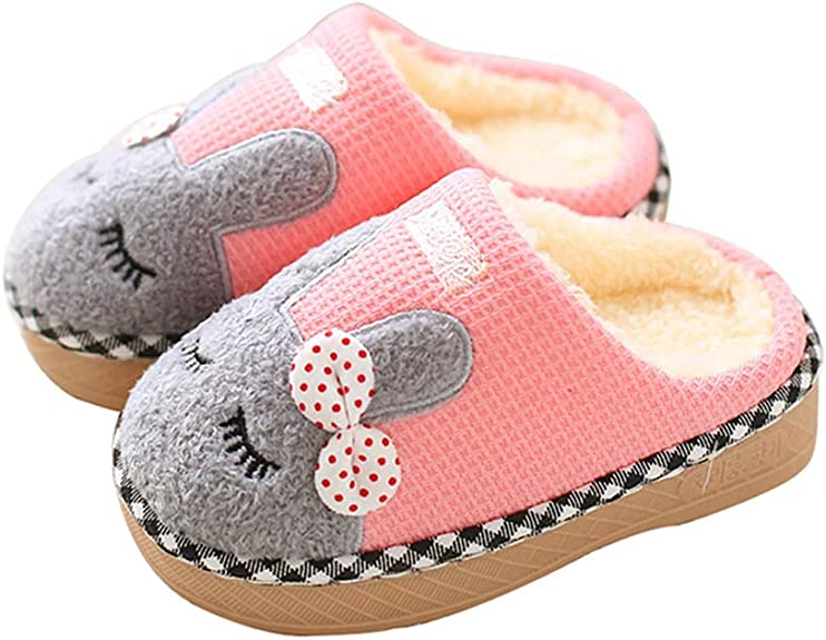 Maybolury Boys Girls Home Slippers,Kids Cute Fur Lined Warm House Slippers Winter Indoor Shoes best kids' slippers