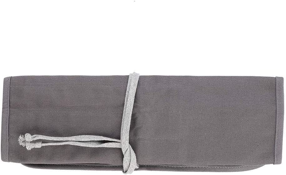 FTVOGUE Roll Up Bolso Lavable Gris Lienzo Pincel Pintura Pluma Titular Papeler/ía Pluma Bolsa de Almacenamiento para la Oficina de la Escuela