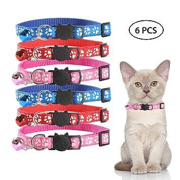KOBWA Collar Reflectante para Gato con Campana, 6 Piezas Hermosos Collares para Gato, Correa de Nailon Ajustable para Adaptarse a Todos los Gatos y Gatos ...