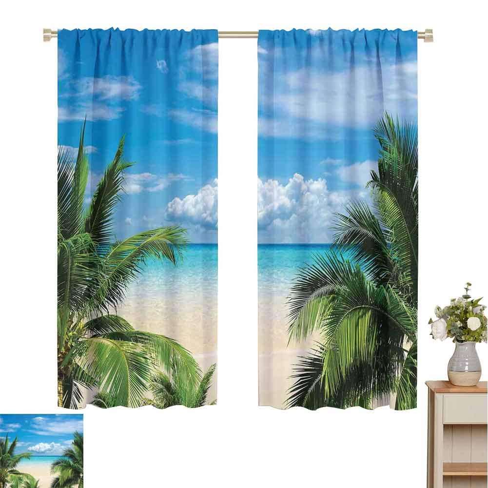 June Gissing Tropical Decor Black Out Nursery Curtains for Kids Bedroom, Beach Relaxation Waterscape Island Honeymoon Traveling Seaside Shoreline Shabby Chic Drapes (72 x 72 Inch) by June Gissing
