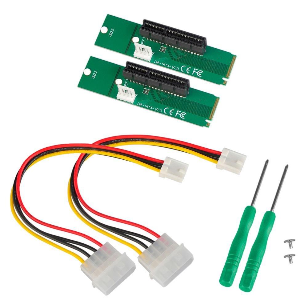 Demiawaking Lot de 2NGFF M2vers PCI-E 4x Slot Riser Card M Clé M.2vers PCI Express adaptateur convertisseur pour BTC Minière 06 New