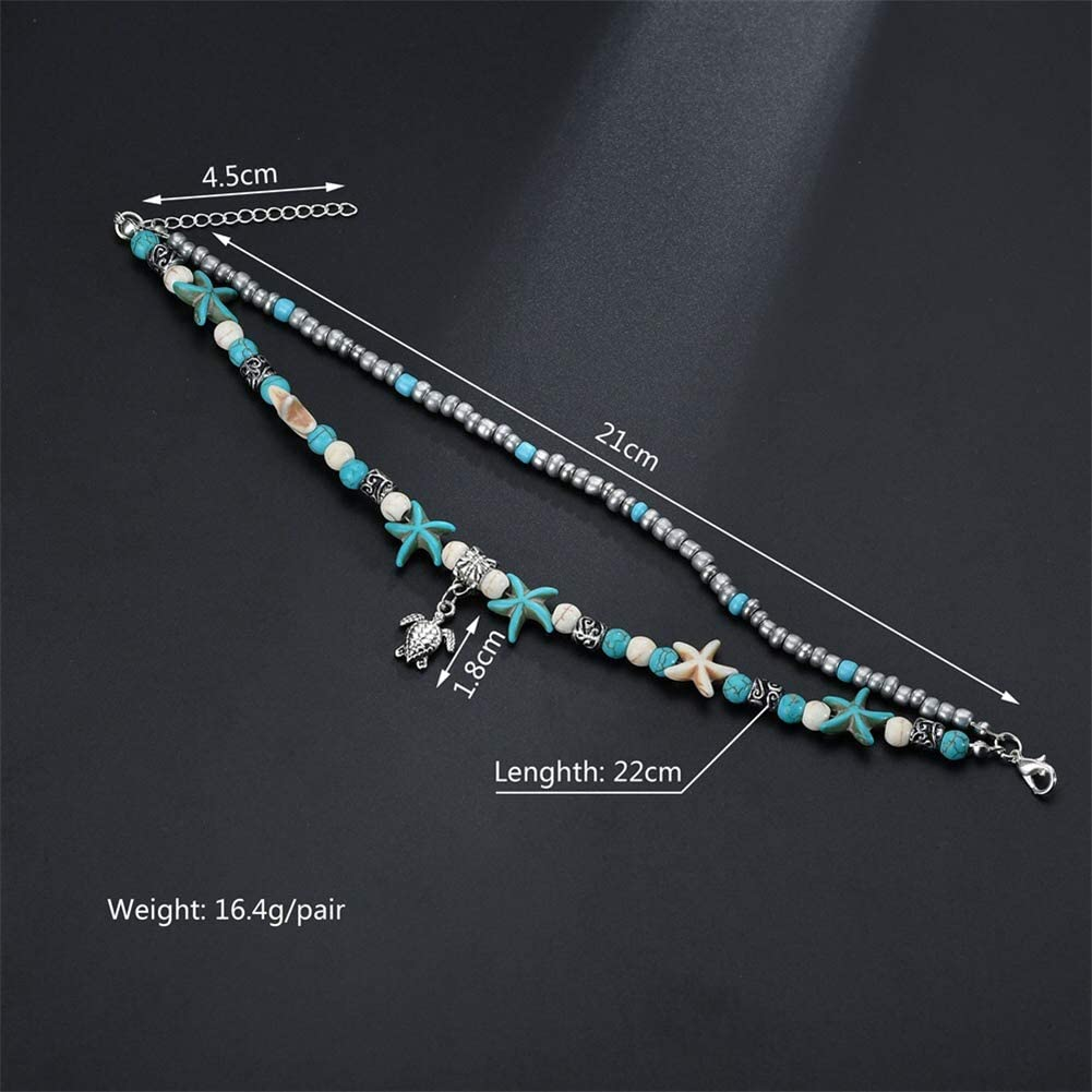 QEPOL Blue Starfish Beach Charm Turtle Conch Anklet Multilayer Charm Turquoise Zhuhai Handmade Bohemian Chain Anklet Ms.