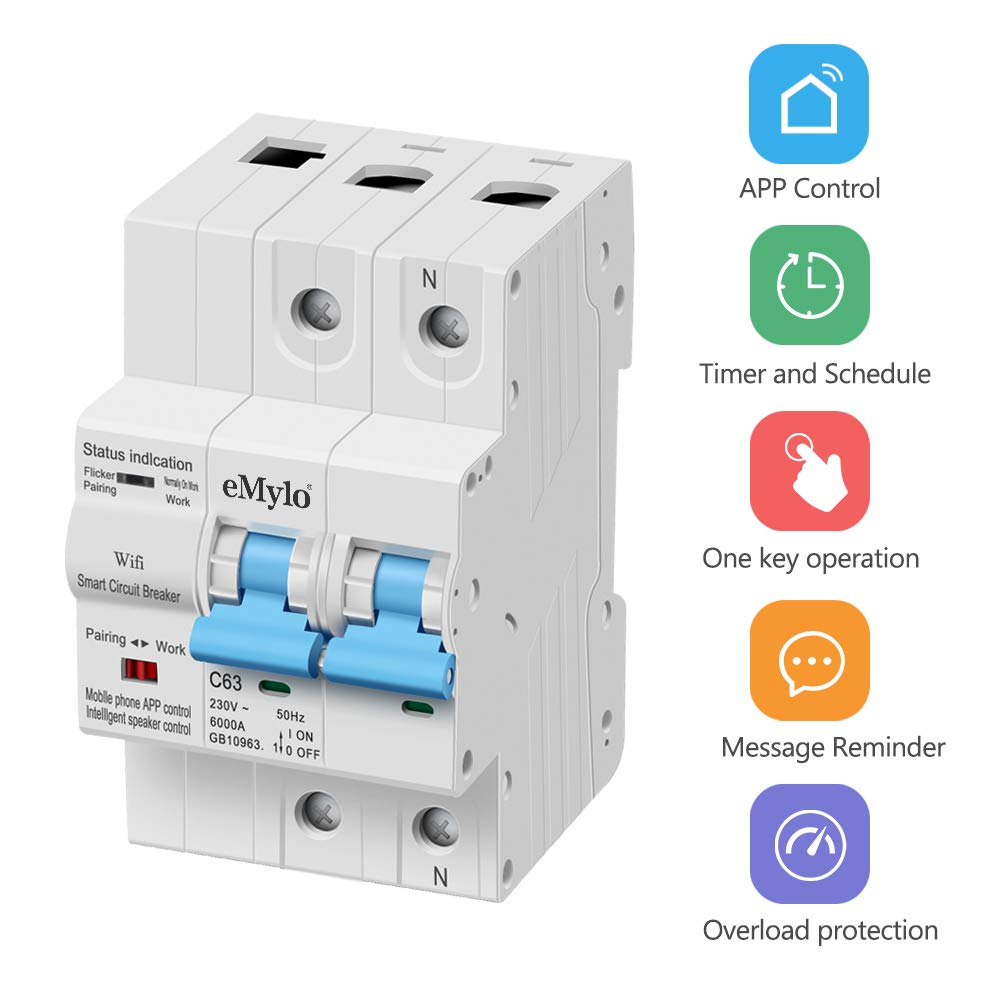 eMylo Disyuntor Inteligente 2P 10-63A Interruptor De Circuito De WiFi Smart Circuit Breaker Interruptor Automático Inalambrico con función de temporización y retraso compatible con Alexa y Google Home