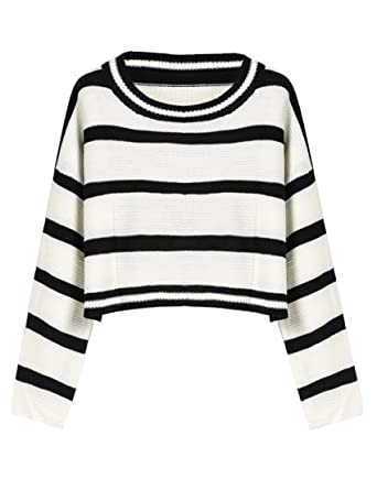 4fb5607e4a PrettyGuide Women Eyelet Cable Knit Lace Up Crop Long Sleeve Sweater Crop  Tops (Black White Striped
