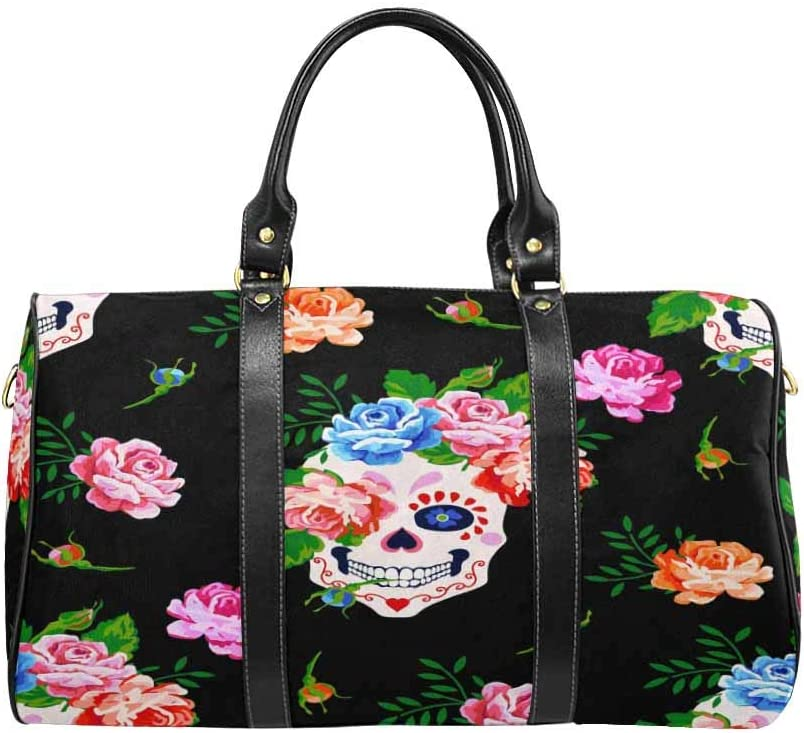InterestPrint Large Duffel Bag Flight Bag Gym Bag Skull and Rose
